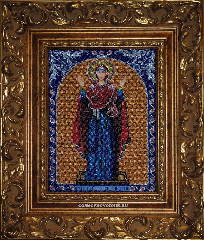 Икона Божьей Матери «Нерушимая стена» вышита бисером
